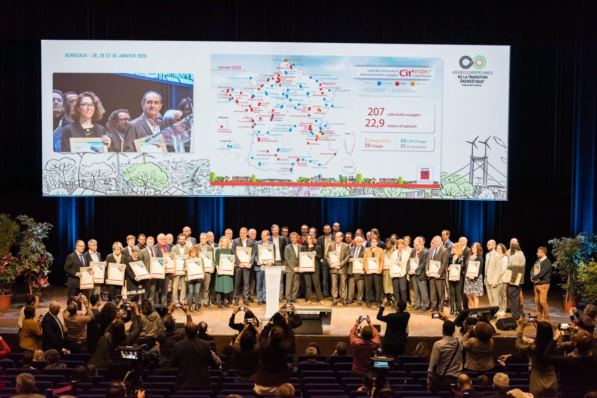 59 collectivités labellisées CAP Cit'ergie, Cit'ergie ou Cit'ergie Gold aux Assises de la transition énergétique 2020 à Bordeaux.