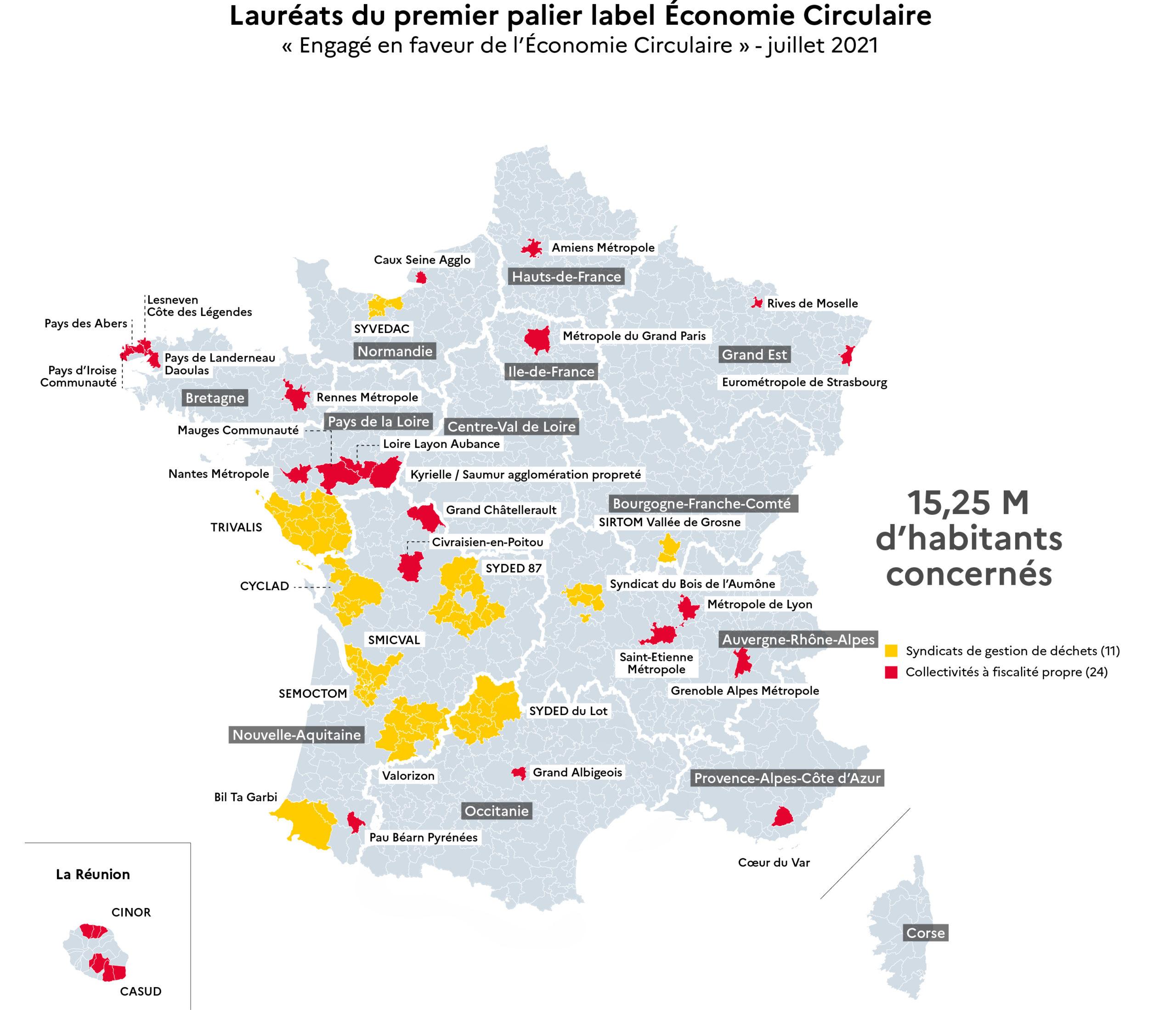 Carte des collectivités labellisées Economie Circulaire 2021