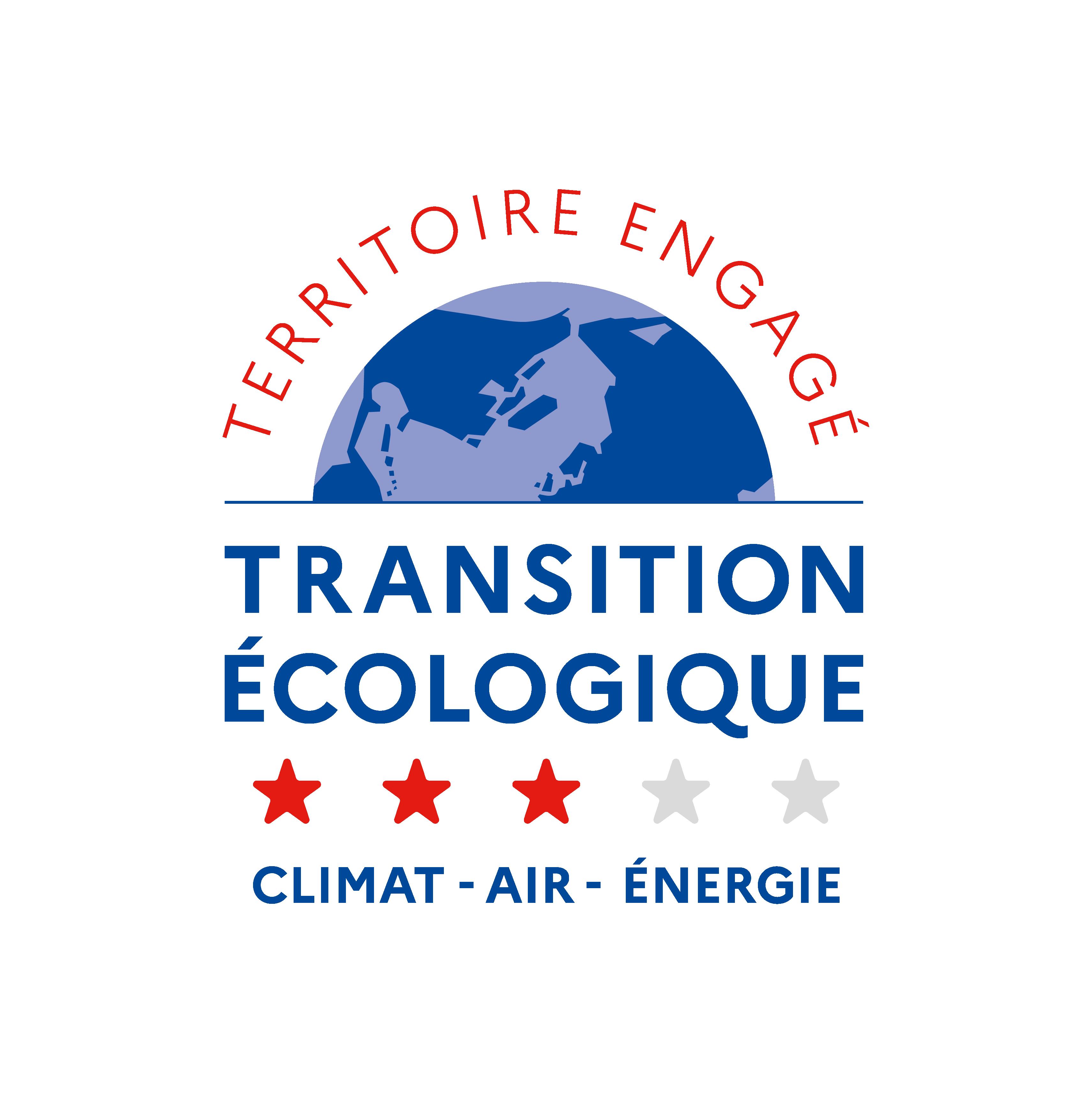 Logo TERRITOIRE ENGAGE TRANSITION ECOLOGIQUE : label CLIMAT AIR ENERGIE 3 étoiles