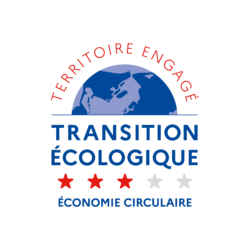 Logo TERRITOIRE ENGAGE TRANSITION ECOLOGIQUE : label ECONOMIE CIRCULAIRE 3 étoiles